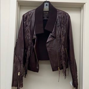 Brown leather and sweater fringe jacket size m